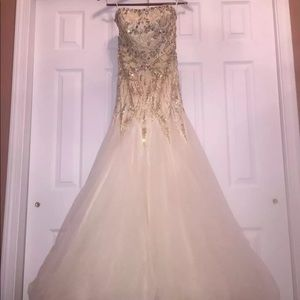 Sherri Hill Ivory/Gold Prom Gown Perfect Condition